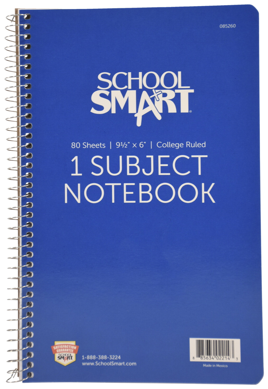 55e24fcfca16 School Smart Spiral Non-Perforated 1 Subject College Ruled Notebook, 9-1/2  x 6 Inches