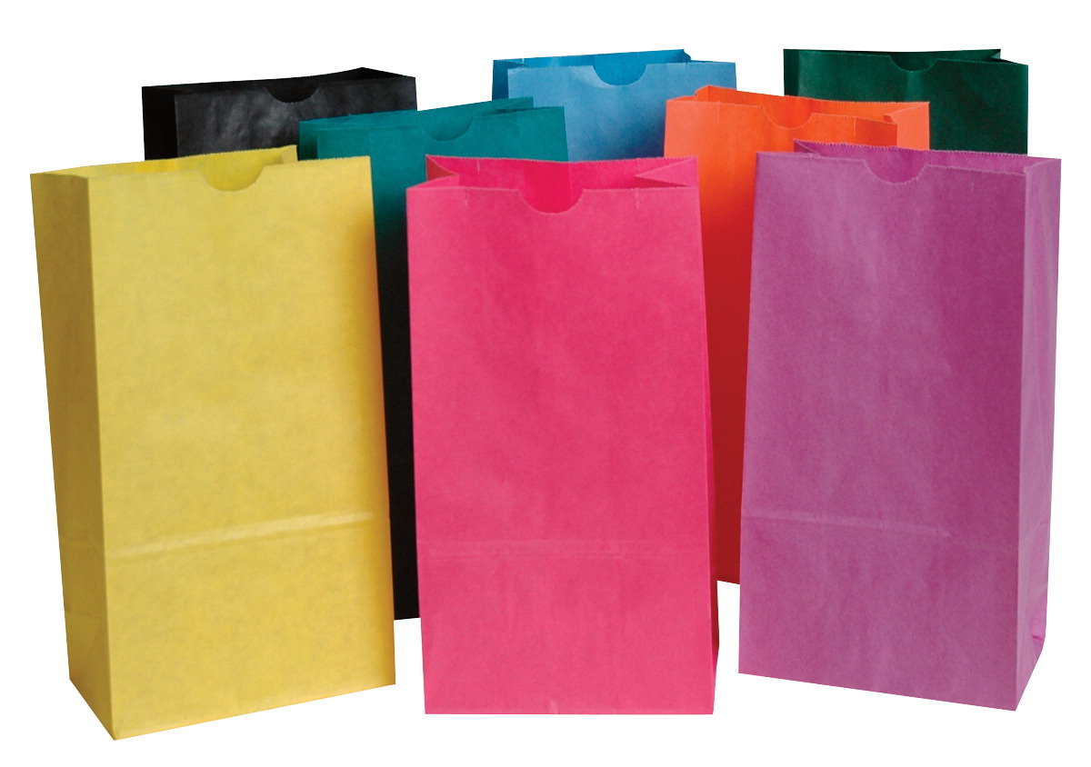 School Smart Flat Bottom Paper Bag, 6 x 11 Inches, Assorted Color, Pack of 28