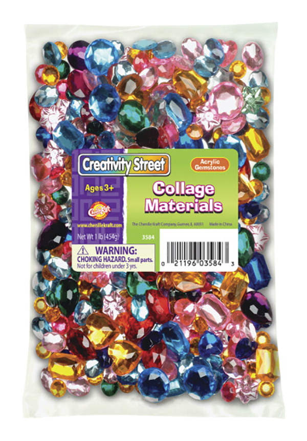Creativity Street Faceted Assorted Shape Acrylic Gemstone, Assorted Size, Assorted Color, 1 lb