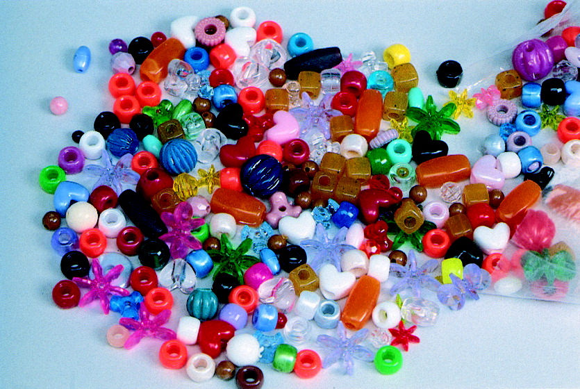 School Smart Plastic Assorted Shape Bead Mix, Assorted Color, 1 lb