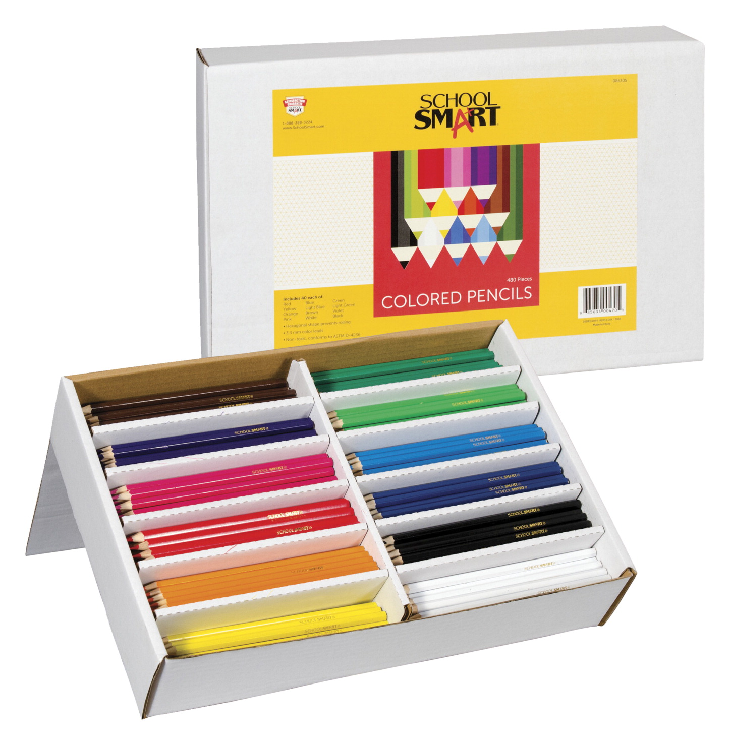 School Smart Professional Colored Pencils, Assorted Colors, Set of 480