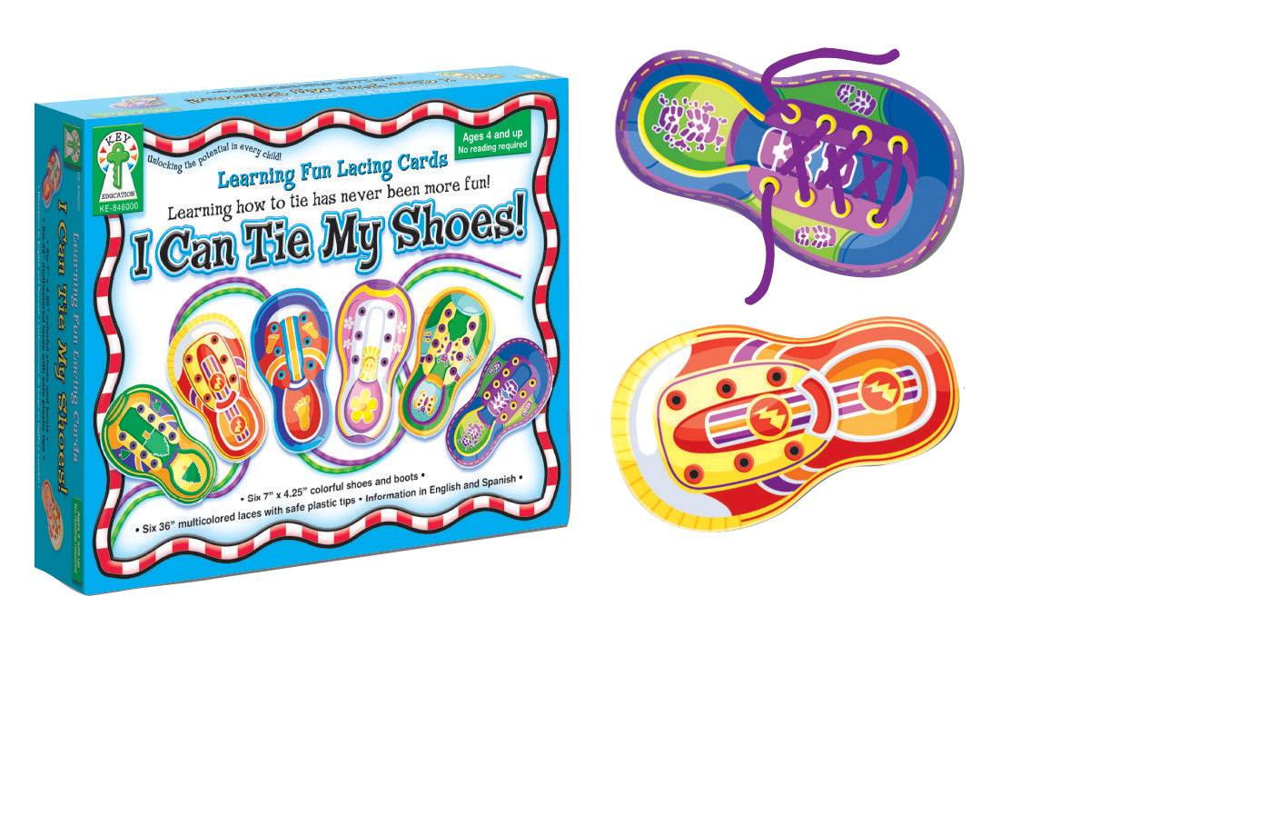 key education i can tie my shoes learning fun lacing card set of 6