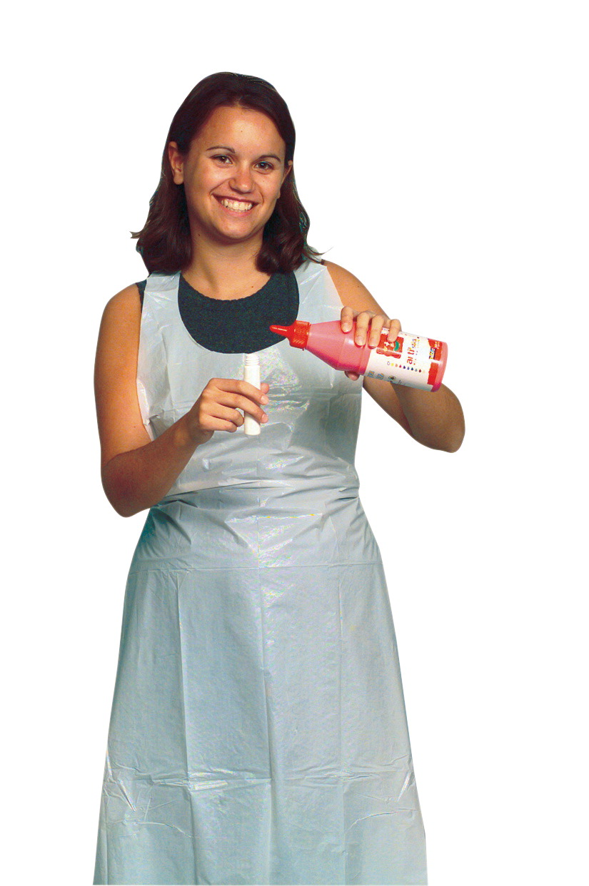 White disposable apron - Baumgartens School Smart Full Length Plastic Disposable Apron 28 X 48 In Pack Of