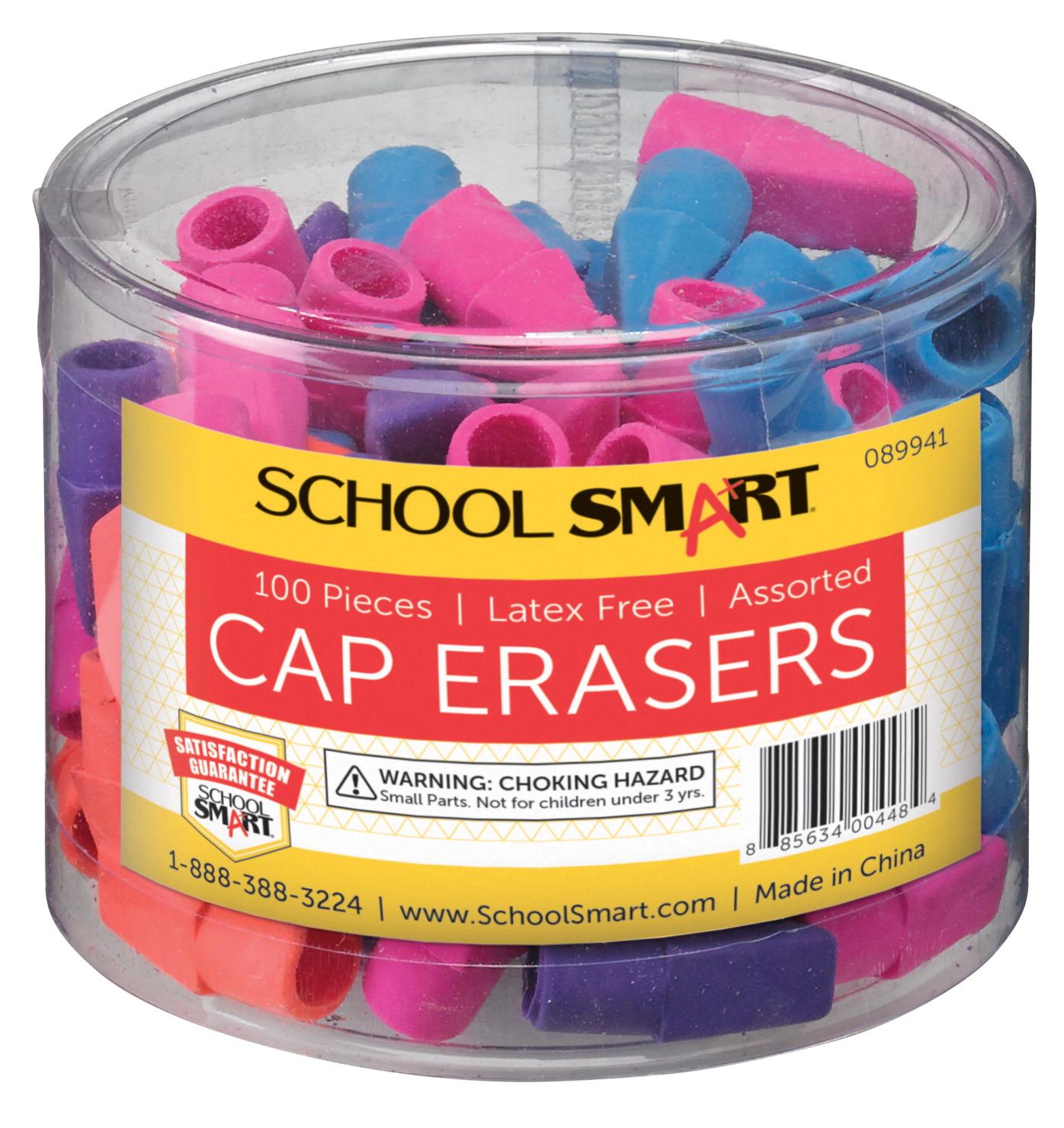 School Smart Pencil Cap Eraser Chisel Assorted Colors