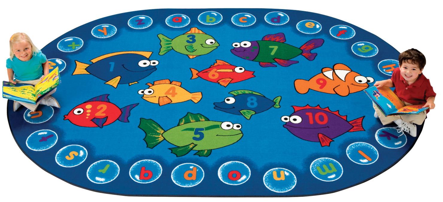 Carpets for Kids Fishing for Literacy Carpet, 8 x 12 Feet, Oval