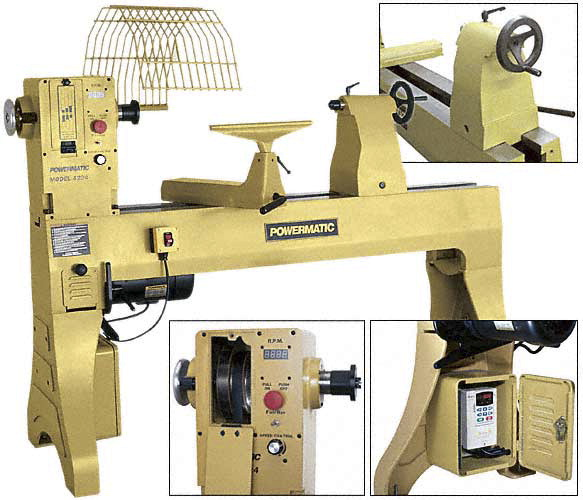 Woodworker's Powermatic 4224 Wood Lathe, 58 X 50 X 24 in, 3 HP, 3 PH, 230  VAC, 6 2 A, 3500 rpm