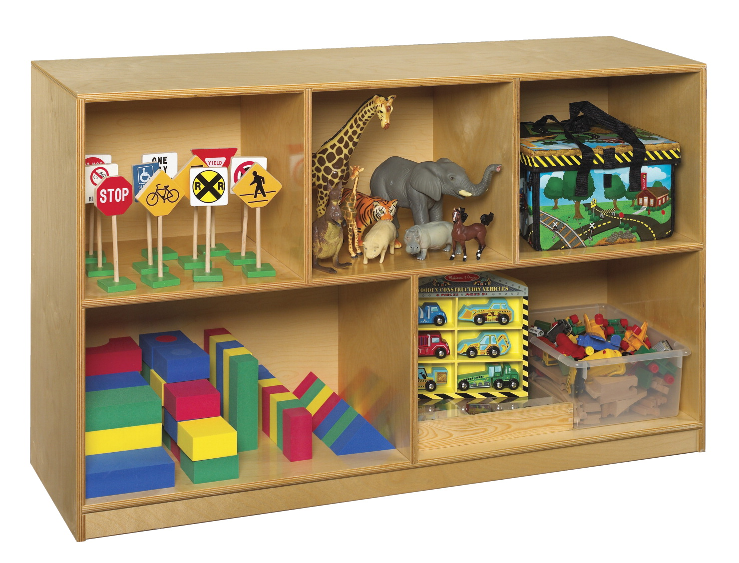 Childcraft Toy and Block Mobile Shelf, 5 Compartments, 47-3/4 x 14-1/4 x 30 Inches
