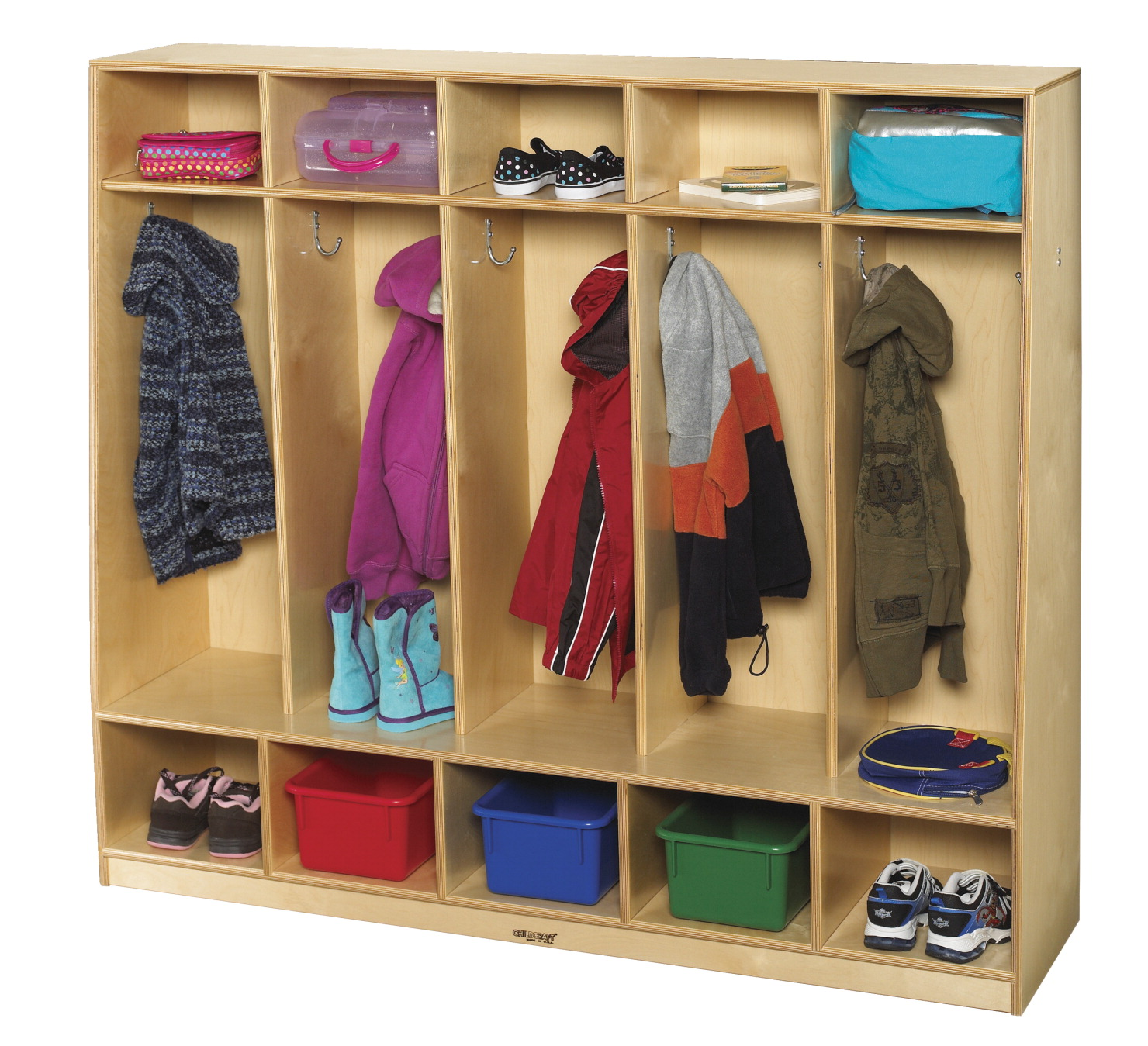 Childcraft Bench Coat Locker, 5 Sections, 53-3/4 x 13-3/4 x 48 Inches