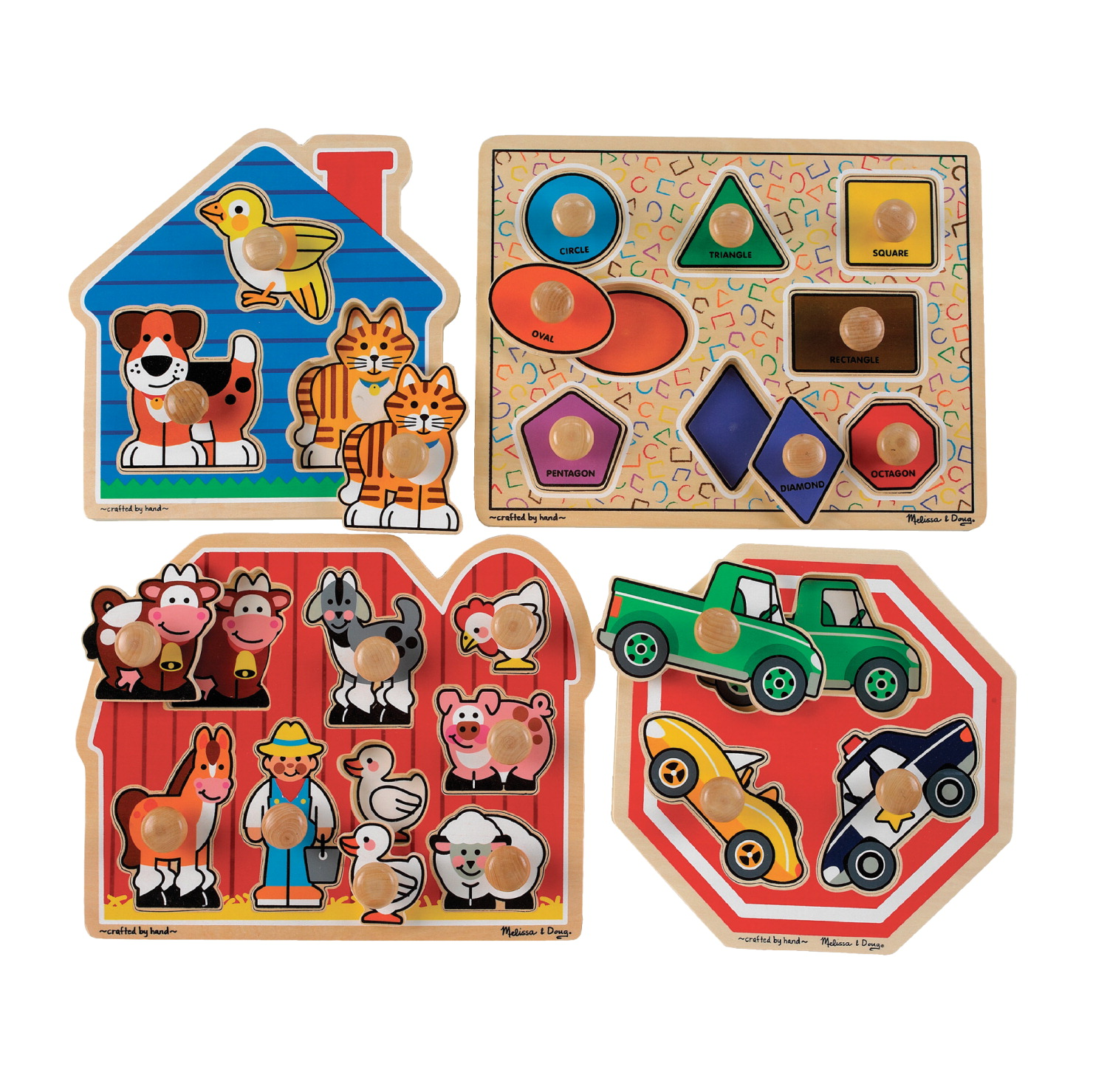 Childcraft Big Jumbo Knob Puzzles, 3 to 8 Pieces Each, Set of 4