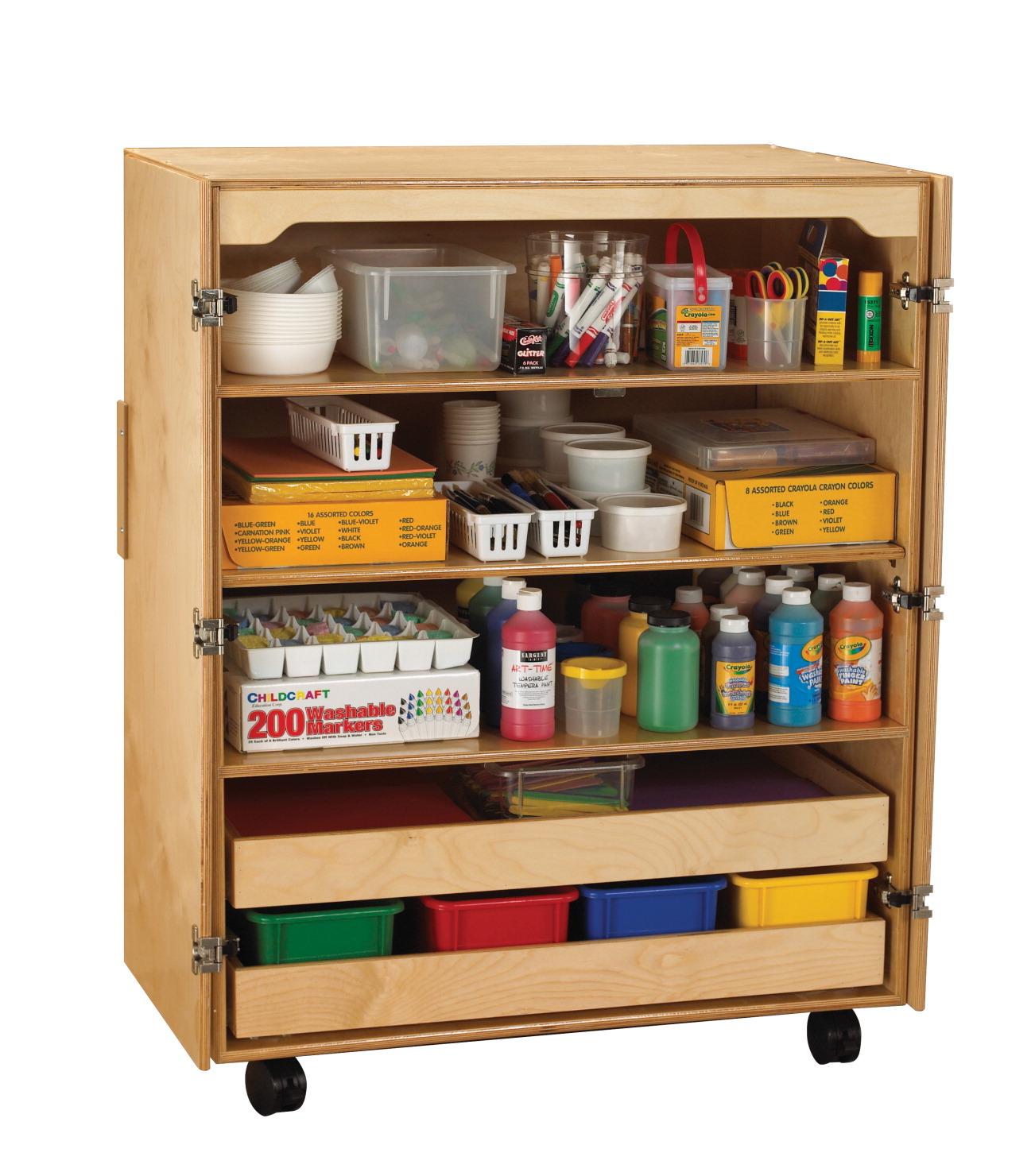 Jsp Furniture: Childcraft Mobile Supply Cabinet, Birch, 36x24x46 Inches