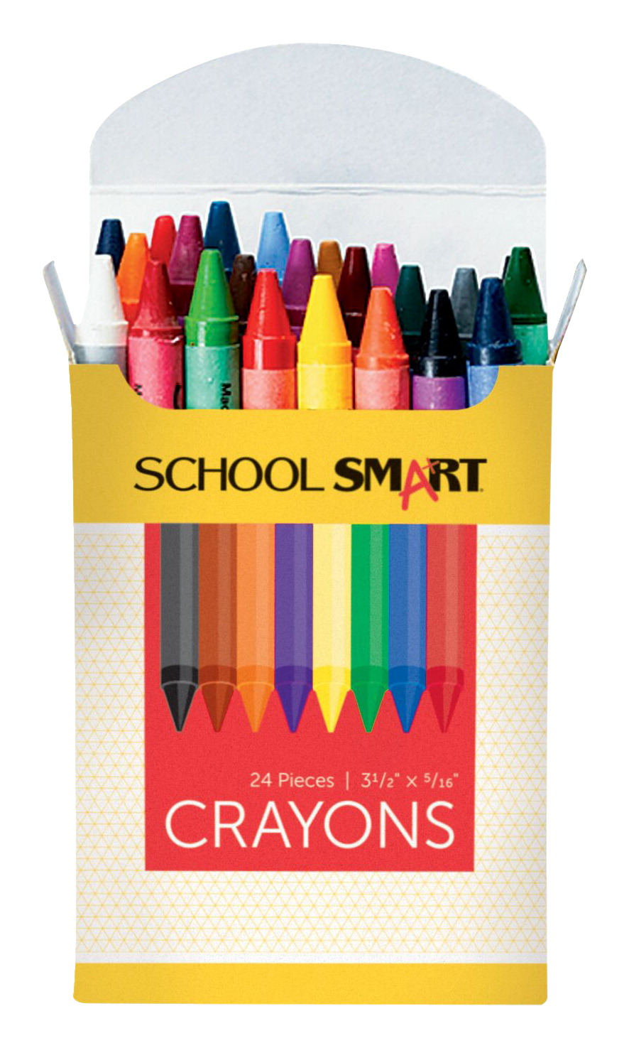 School Smart Non-Toxic Regular Crayon in Tuck Box, 5/16 X 3-1/2 in, Assorted Color, Pack of 24