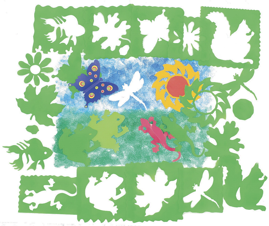 Roylco Nature Stencils, Assorted Sizes, Green, Set of 10