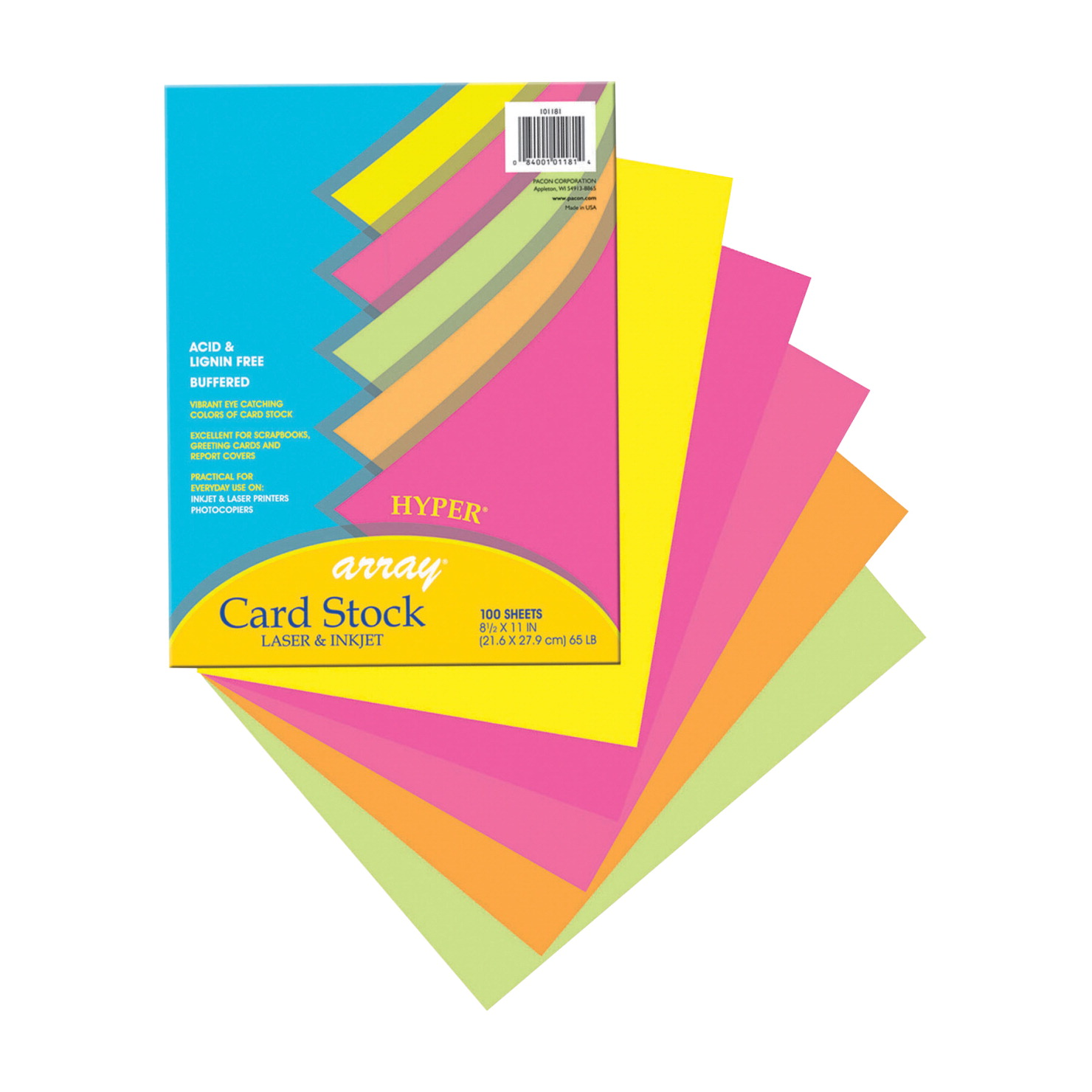 Array Card Stock Paper, 8-1/2 x 11 Inch, Assorted Hyper Colors, Pack of 100