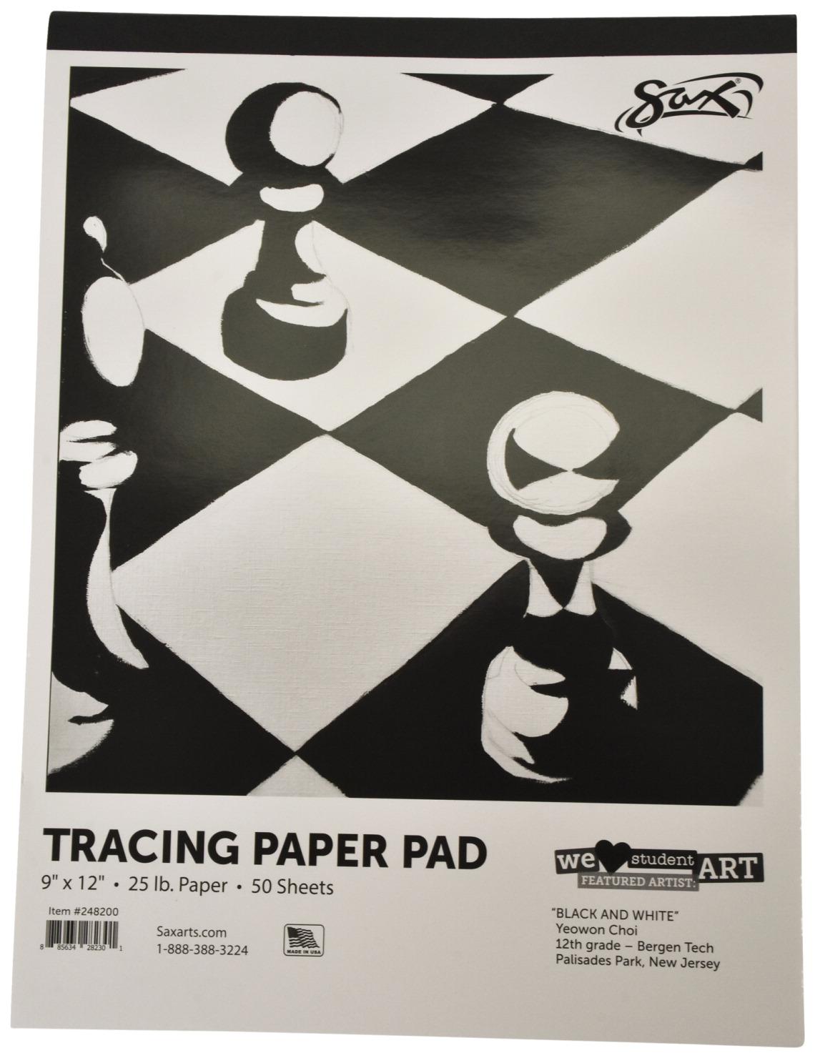 Sax Tracing Paper Pad 25 Lb 9 X 12 Inches White 50