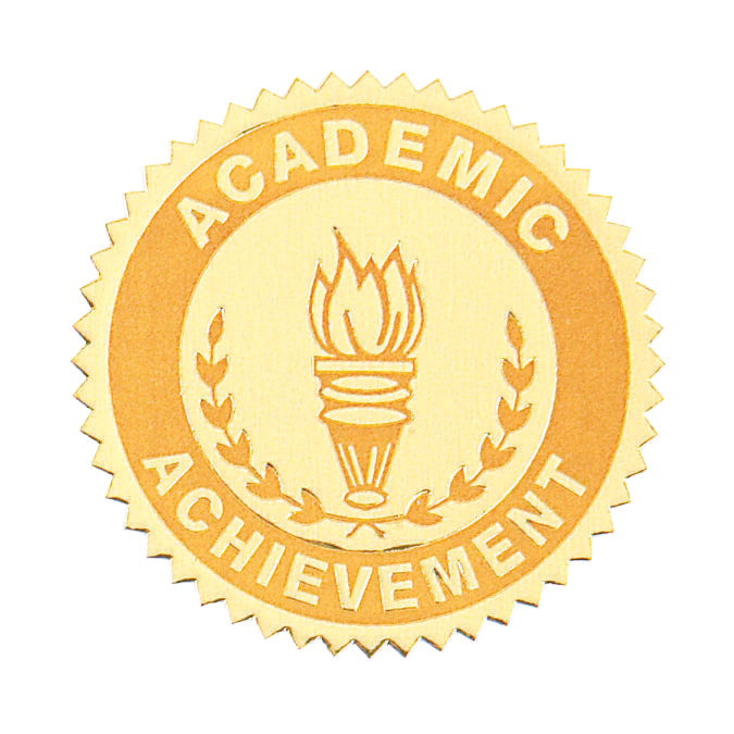 Hammond & Stephens Academic Achievement Gold Foil Embossed Seal, Pack of 54