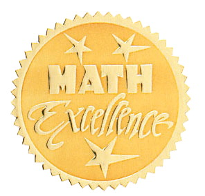 Hammond & Stephens Math Excellence Gold Foil Embossed Seal, 1-13/16 in, Pack of 54