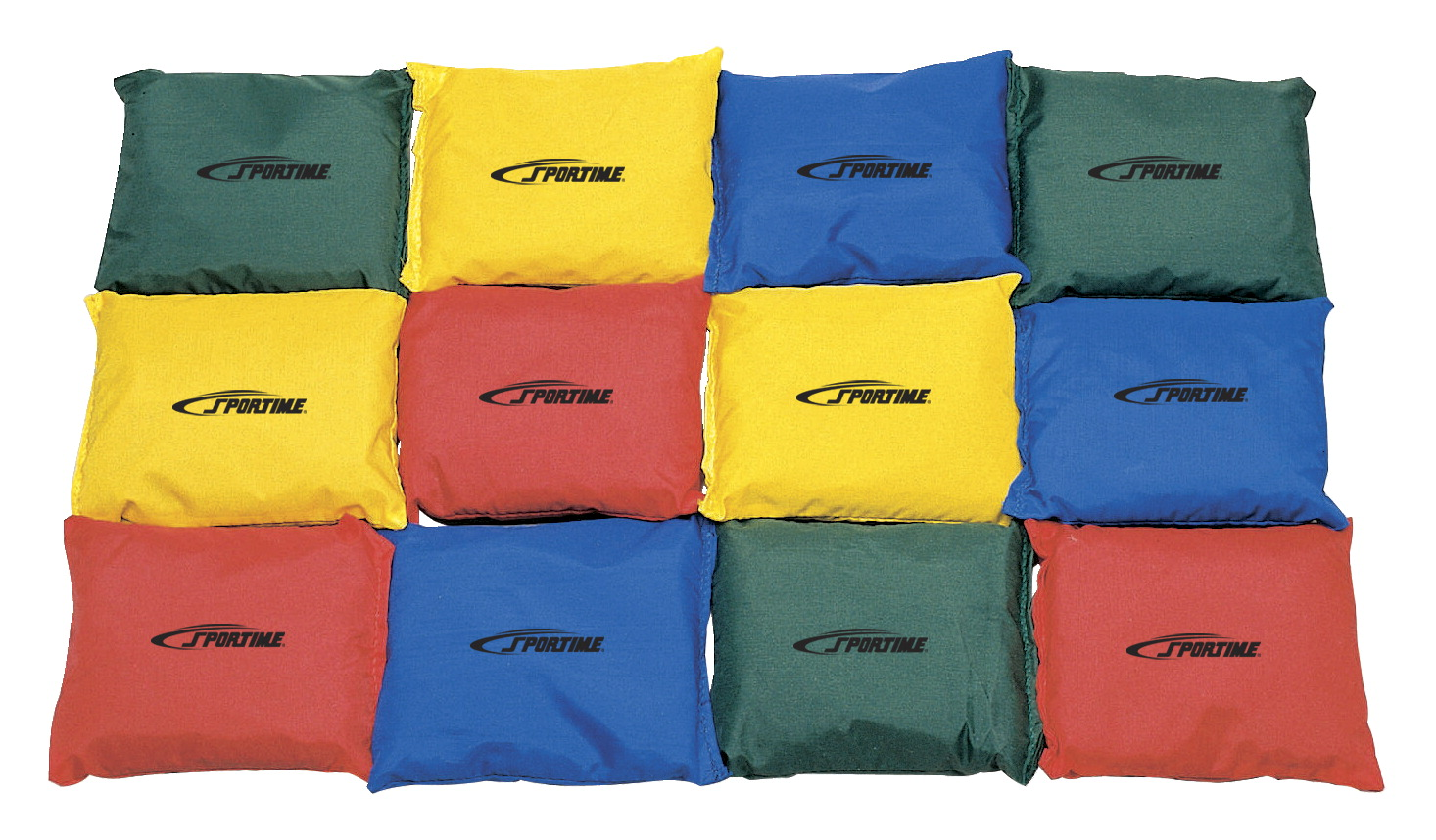 Sportime Nylon Square Beanbags, 4 Inches, Set of 12