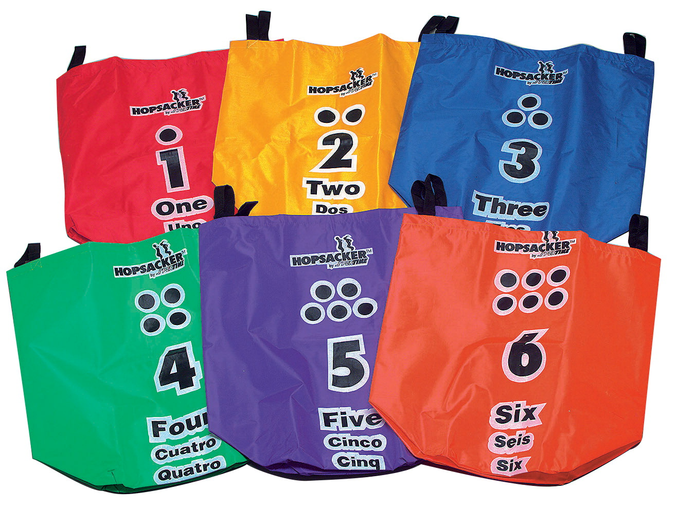 Sportime Large HopSackers, 13 x 13 x 30 Inches, Assorted Colors, Set of 6