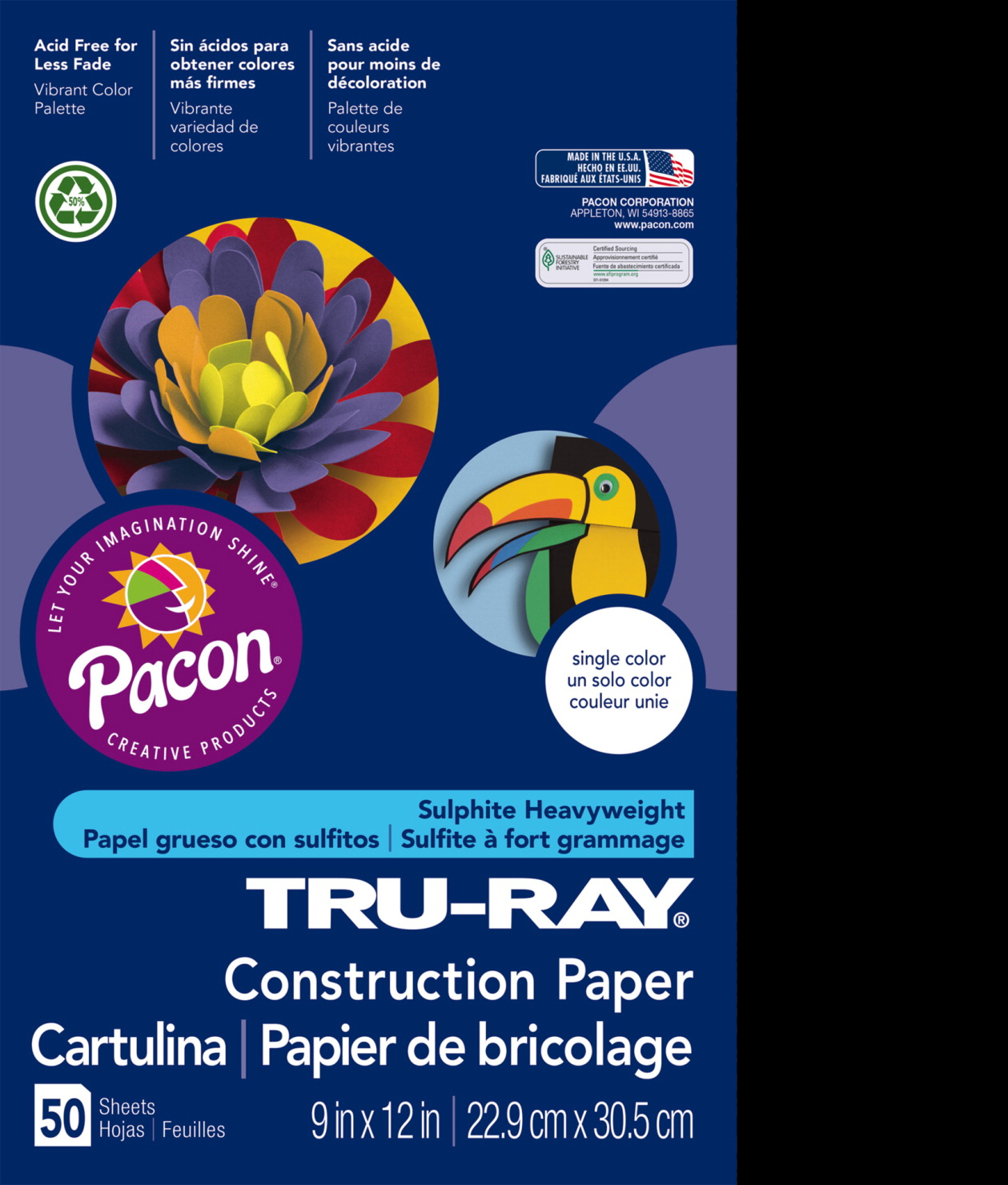Tru-Ray Sulphite Construction Paper, 9 x 12 Inches, Black, 50 Sheets