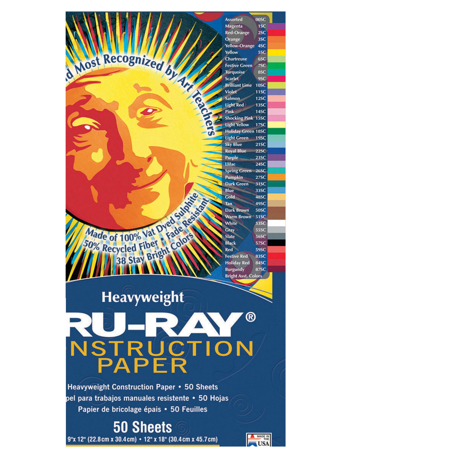 Tru-Ray Sulphite Construction Paper, 9 x 12 Inches, White, 50 Sheets