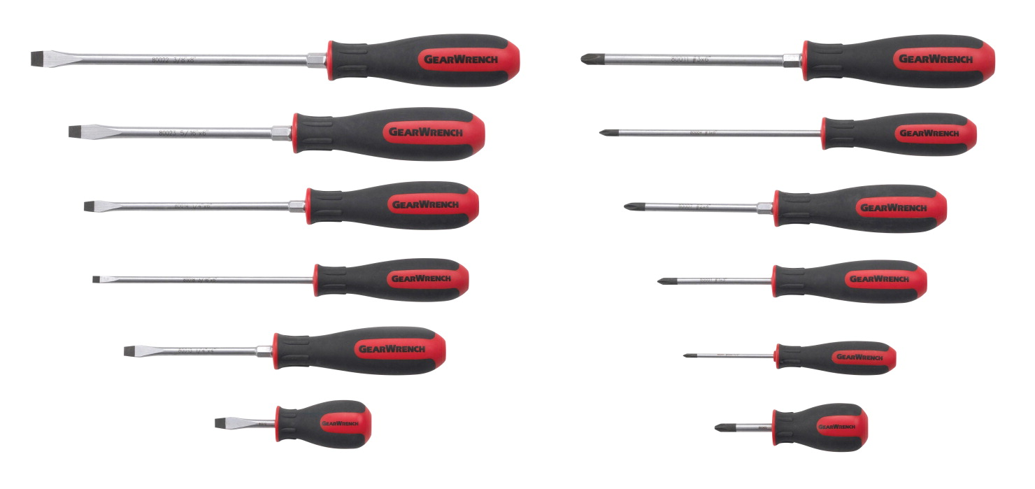 Gearwrench 12-Piece Dual Material Combination Screwdriver Set, Set of 12