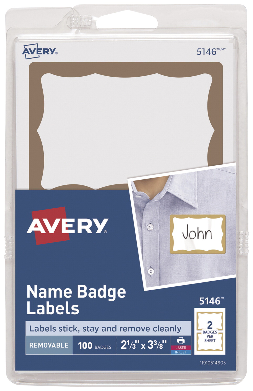 Avery 5146 Name Badge Labels with Gold Border, 2-11/32 x 3-3/8 Inches, Pack  of 100