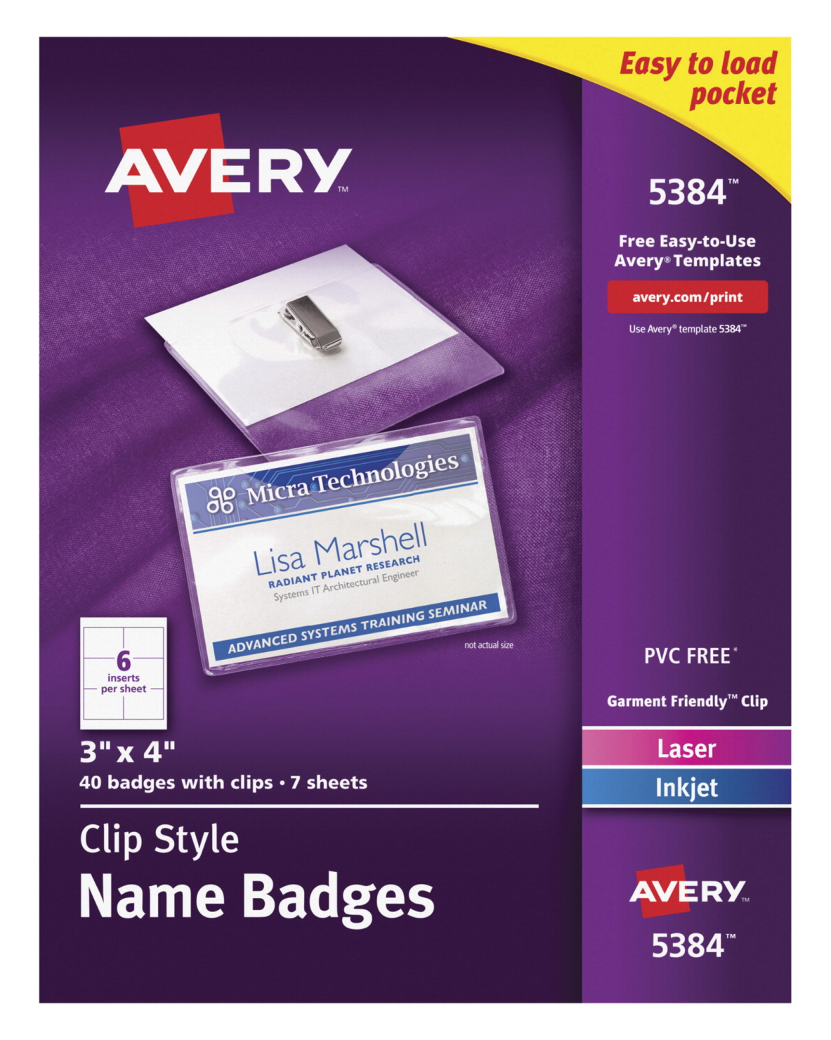Name badge holder kit school specialty marketplace for Avery 3x4 labels