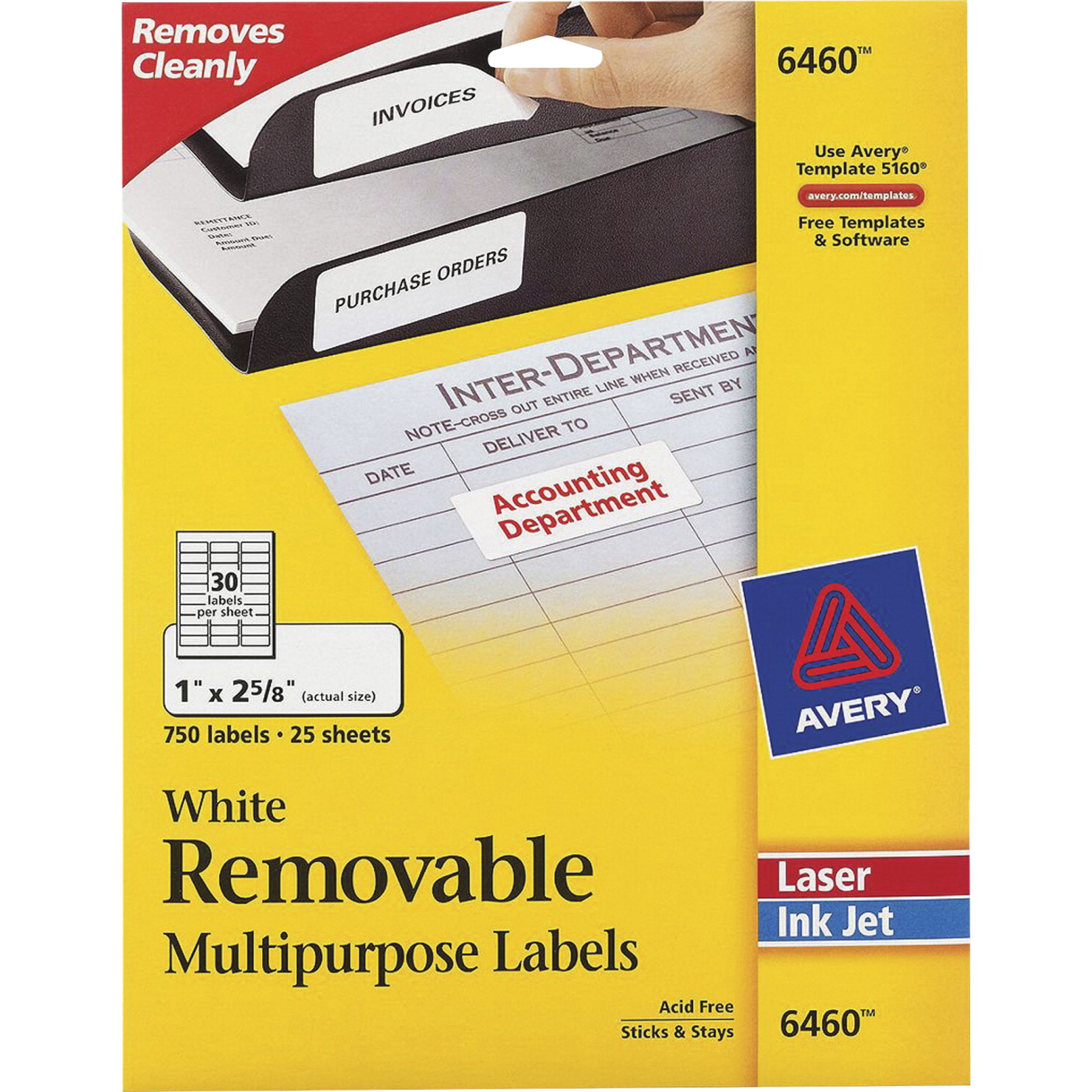 Avery Paper Rectangle Removable Self-Adhesive ID Label for Laser and Inkjet  Printers, 1 X 2-5/8 in, White, Pack of 750