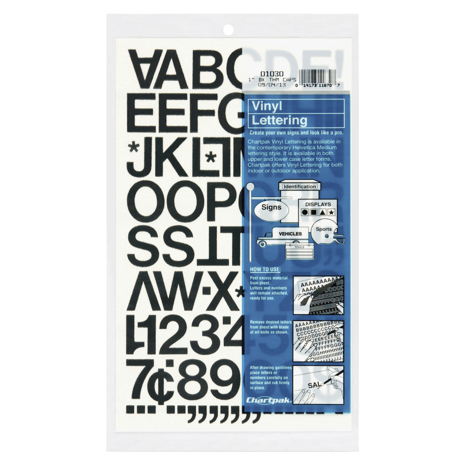 Chartpak Self-Adhesive Vinyl Letter and Number Stencil, 1 in, Black