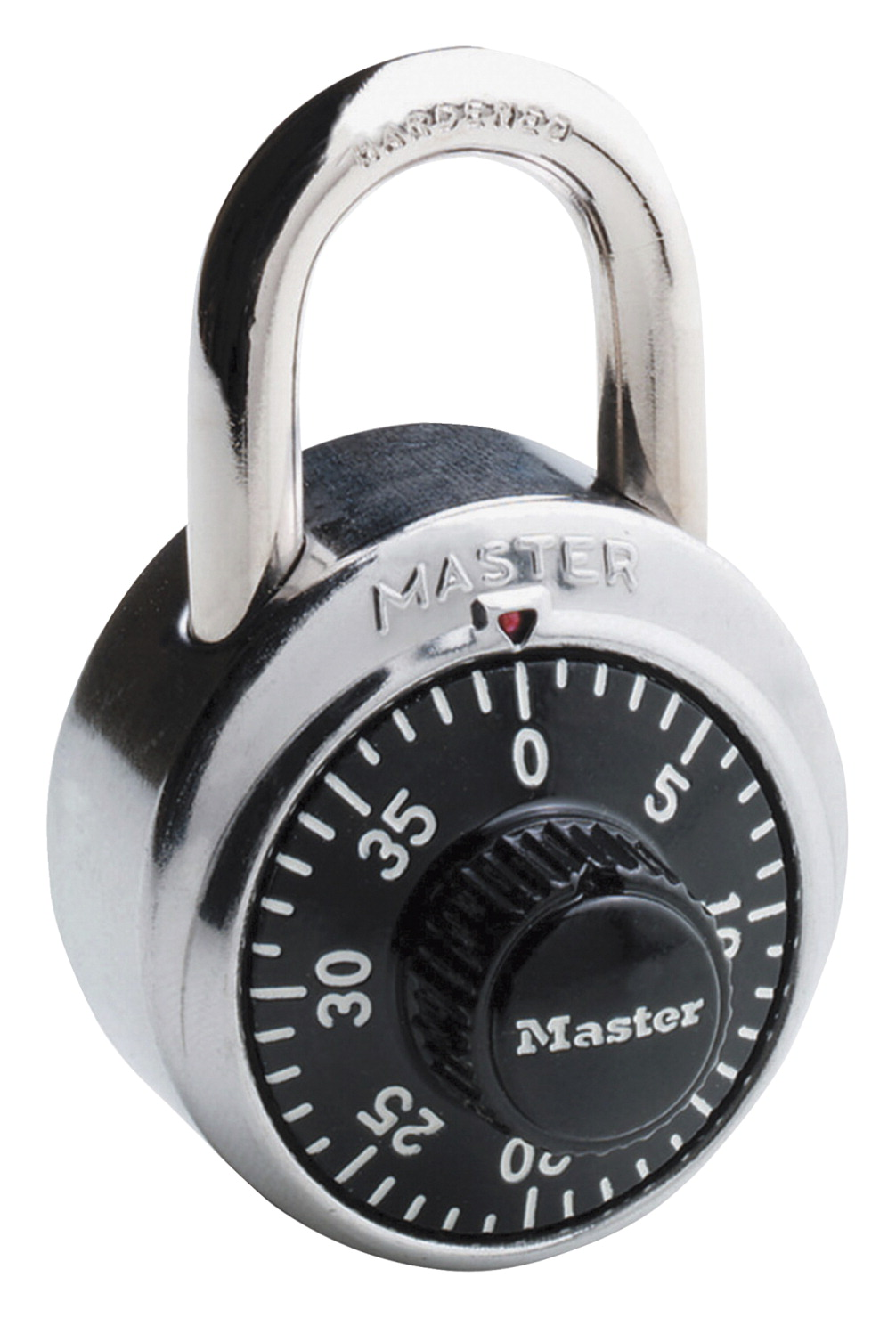 Master Lock 3-Digit Dialing Combination Padlock, 1-7/8 in W, Stainless Steel, Wrought Steel, Hardened Steel