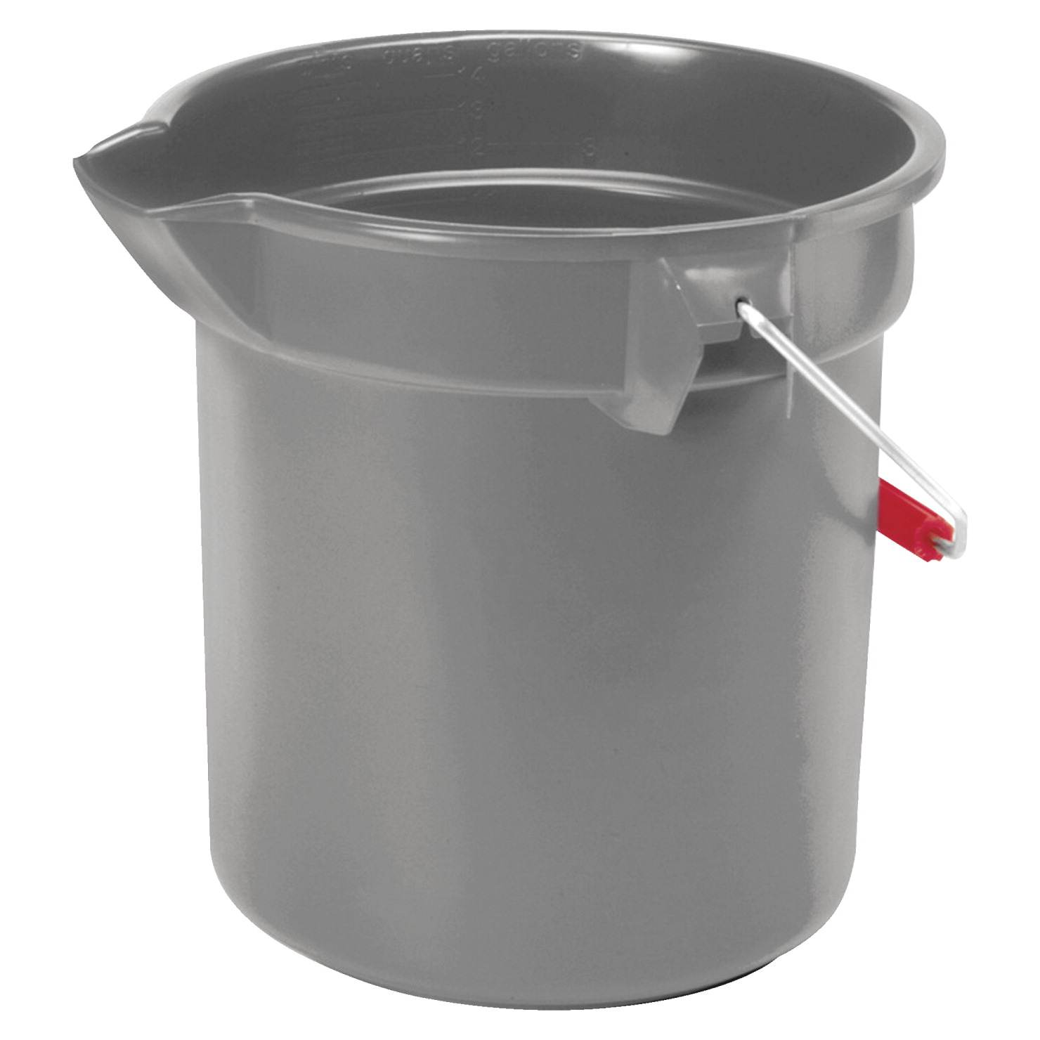 Rubbermaid Brute Durable Flexible Utility Bucket, 10 qt, 10-1/2 L x 10-1/4 W in, Plastic, Zinc-Plated Handle, Gray