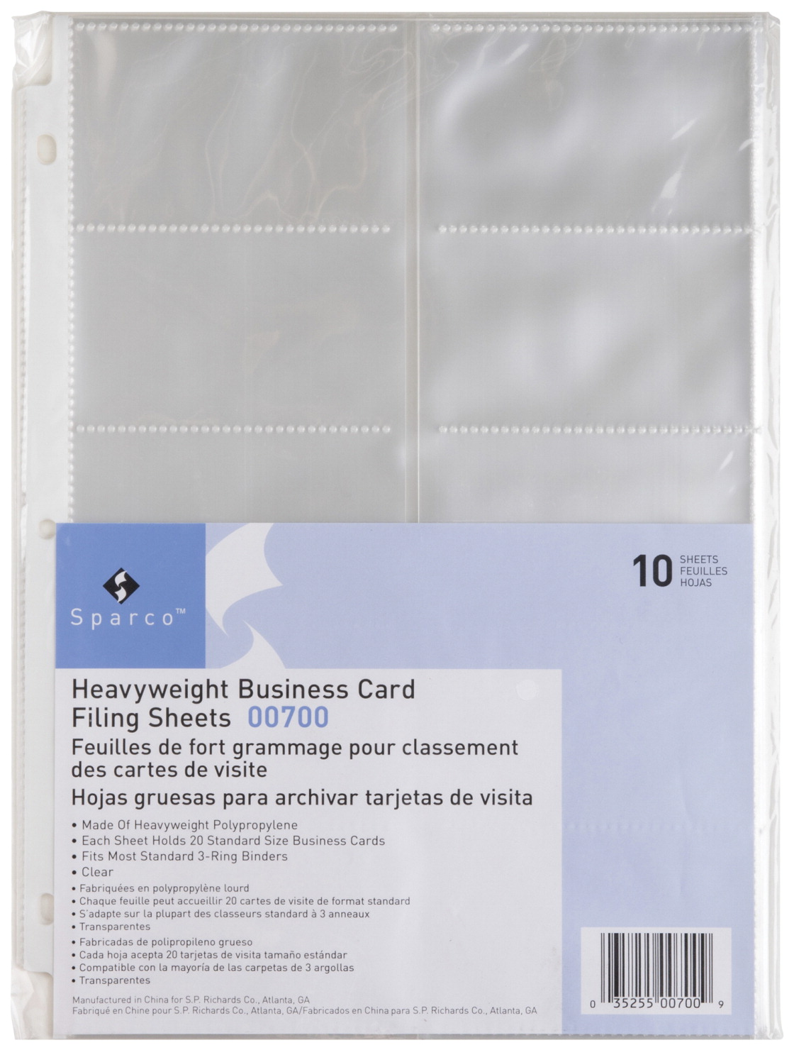 Business card sleeve soar life products sparco polypropylene 3 hole punched side load business card sleeve 11 x 8 reheart Image collections