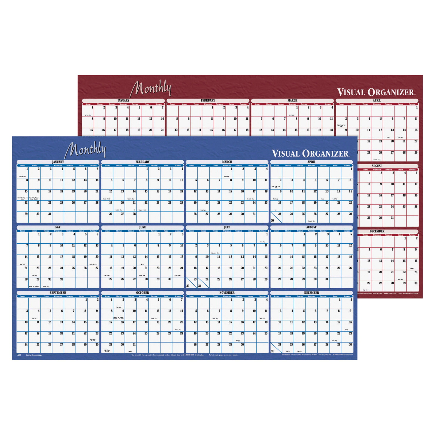At-A-Glance Double Sided Erasable Organizer Calendar Planner, 24 X 36 in, 1-1/8 X 1-1/8 in, January - December, Blue/Burgundy
