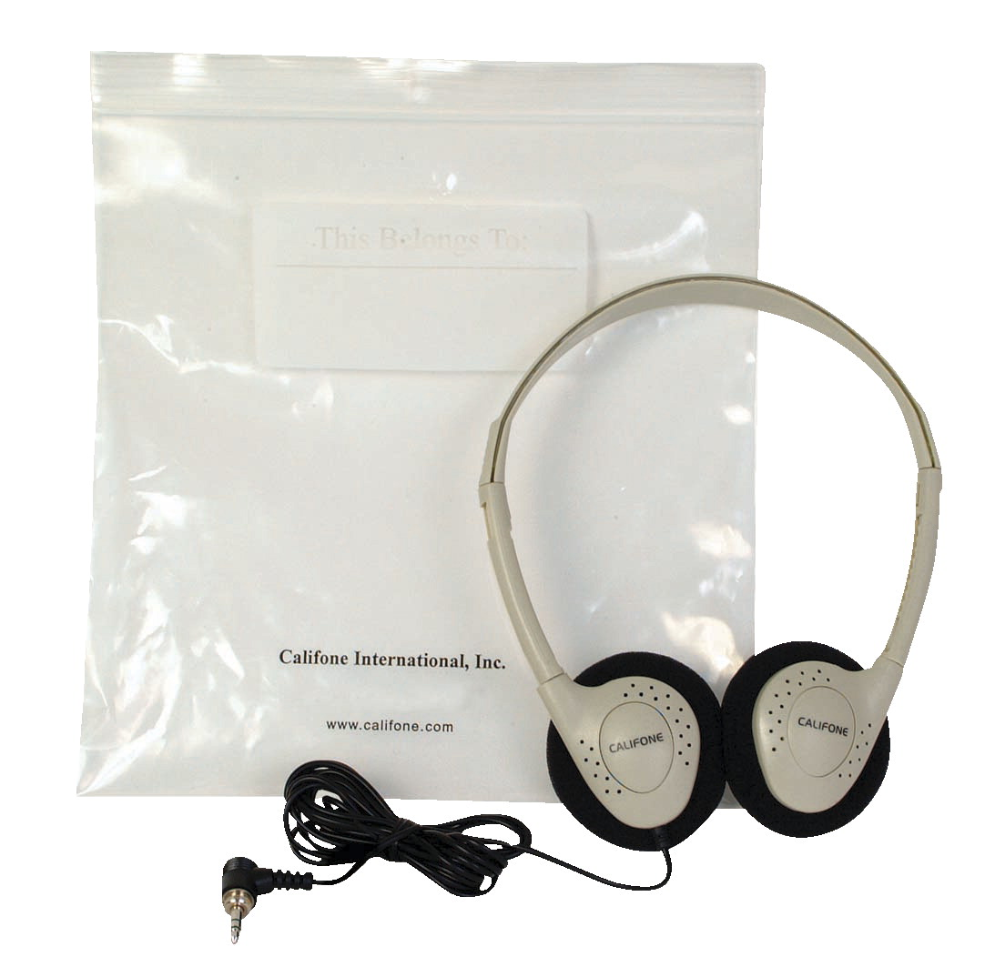 Califone CA-2 Individual Stereo Headphones with Resealable Storage Bag