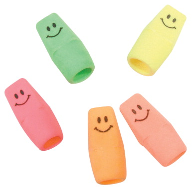 Moon Products Latex Free Smiley Pencil Cap Eraser