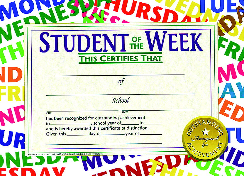 hayes student of the week certificate 11 x 8 1 2 inches paper