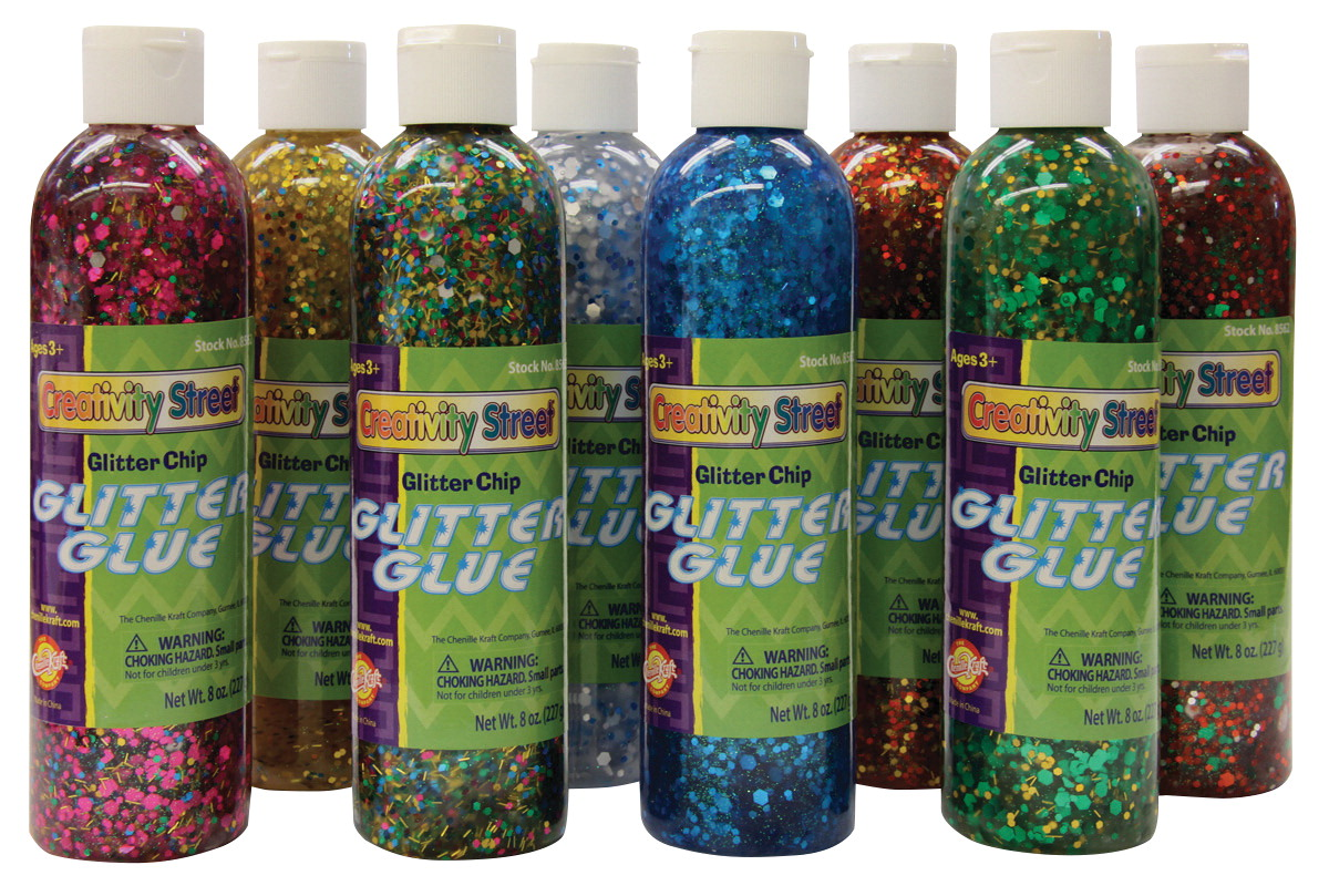 Creativity Street Glitter Chip Glue, 8 Ounces, Assorted Colors, Set of 8