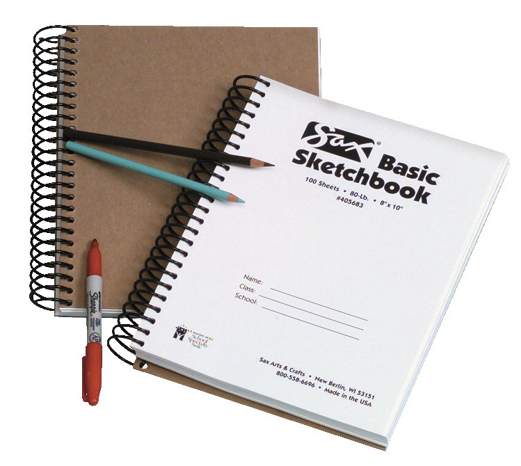 Sax Basic Spiral Binding Sketchbook, 80 lbs, 8 x 10 Inches, 100 Sheets, White