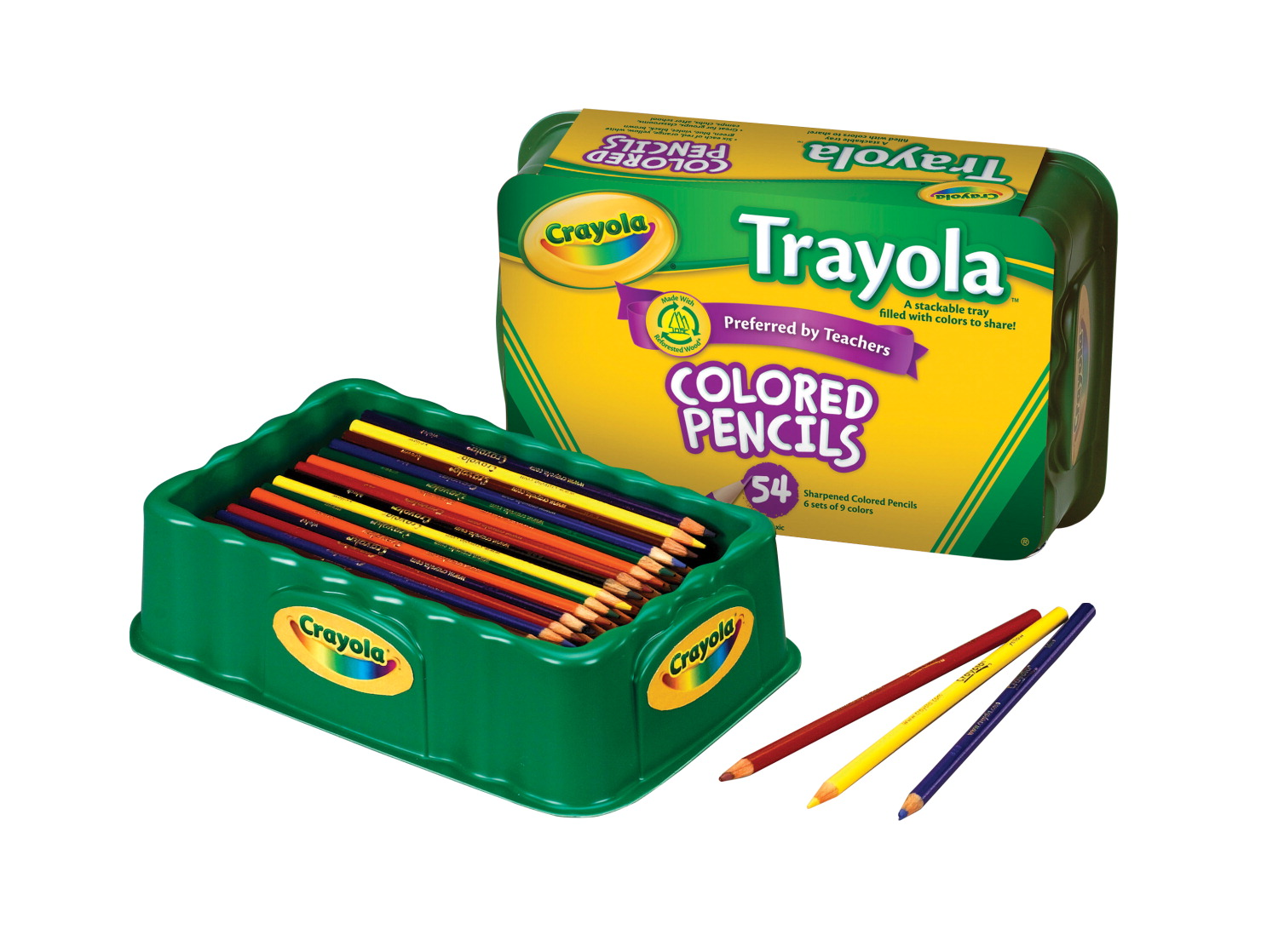 Crayola Trayola Colored Pencils, Full Size, 9 Assorted Colors, Set of 54
