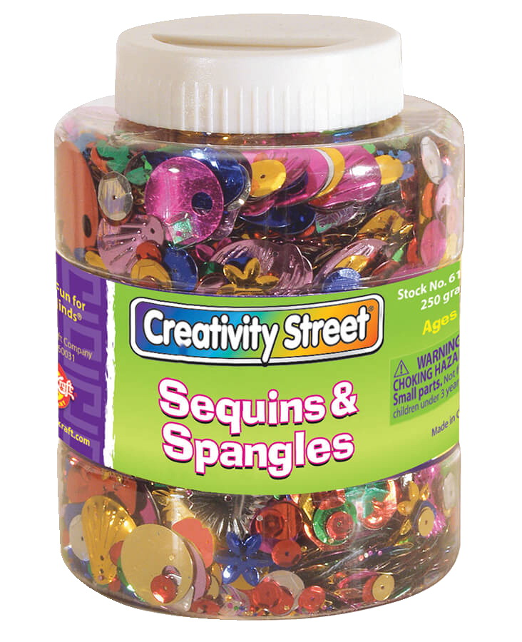 Creativity Street Plastic Reflective Assorted Shape Sequin and Spangle Shaker Jar, Assorted Size, Assorted Color, 8-4/5 oz