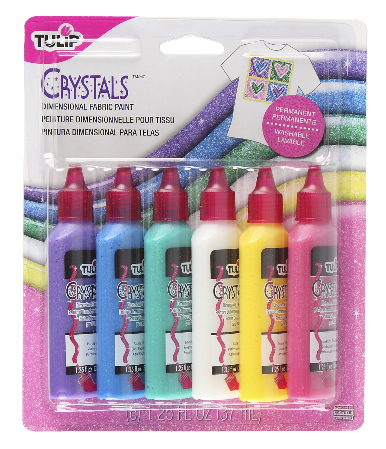 Tulip Washable Crystals 3D Fabric Paint Set, Assorted Colors, Set of 6
