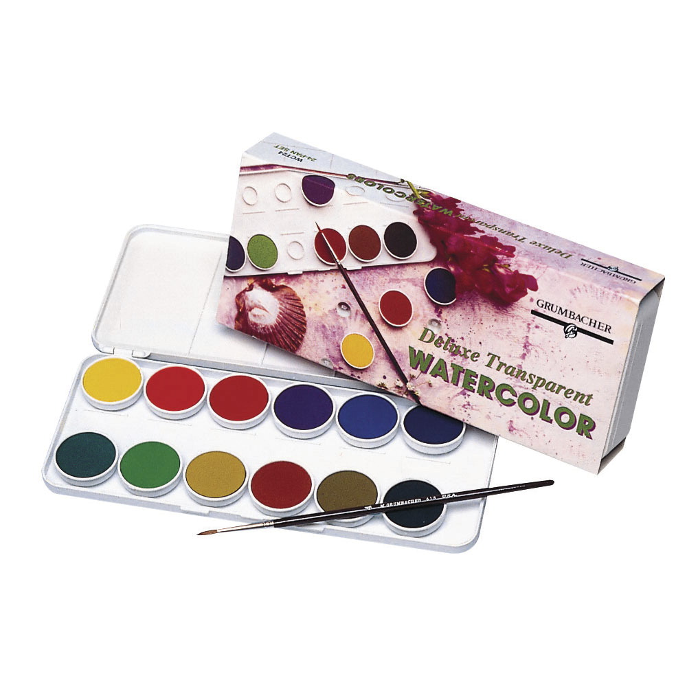 Grumbacher Non-Toxic Watercolor Paint Set with Brush and 0.5ml Tube of White Paint, 24 Assorted Transparent Colors