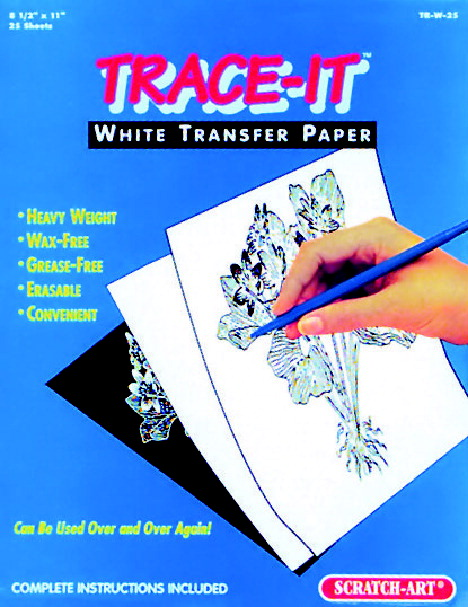 Trace-It Wax-Free Transfer Paper, 8-1/2 x 11 Inches, White, 25 Sheets