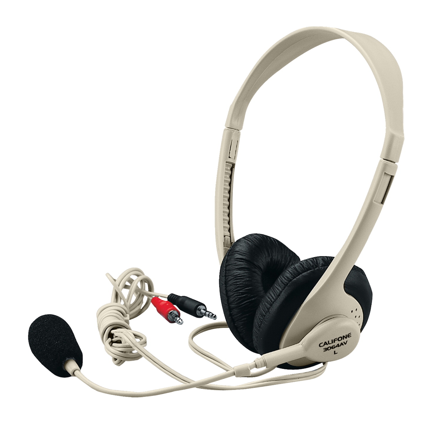 Califone 3064AV Multimedia Stereo Headset with Microphone, Dual 3.5mm plugs, Beige
