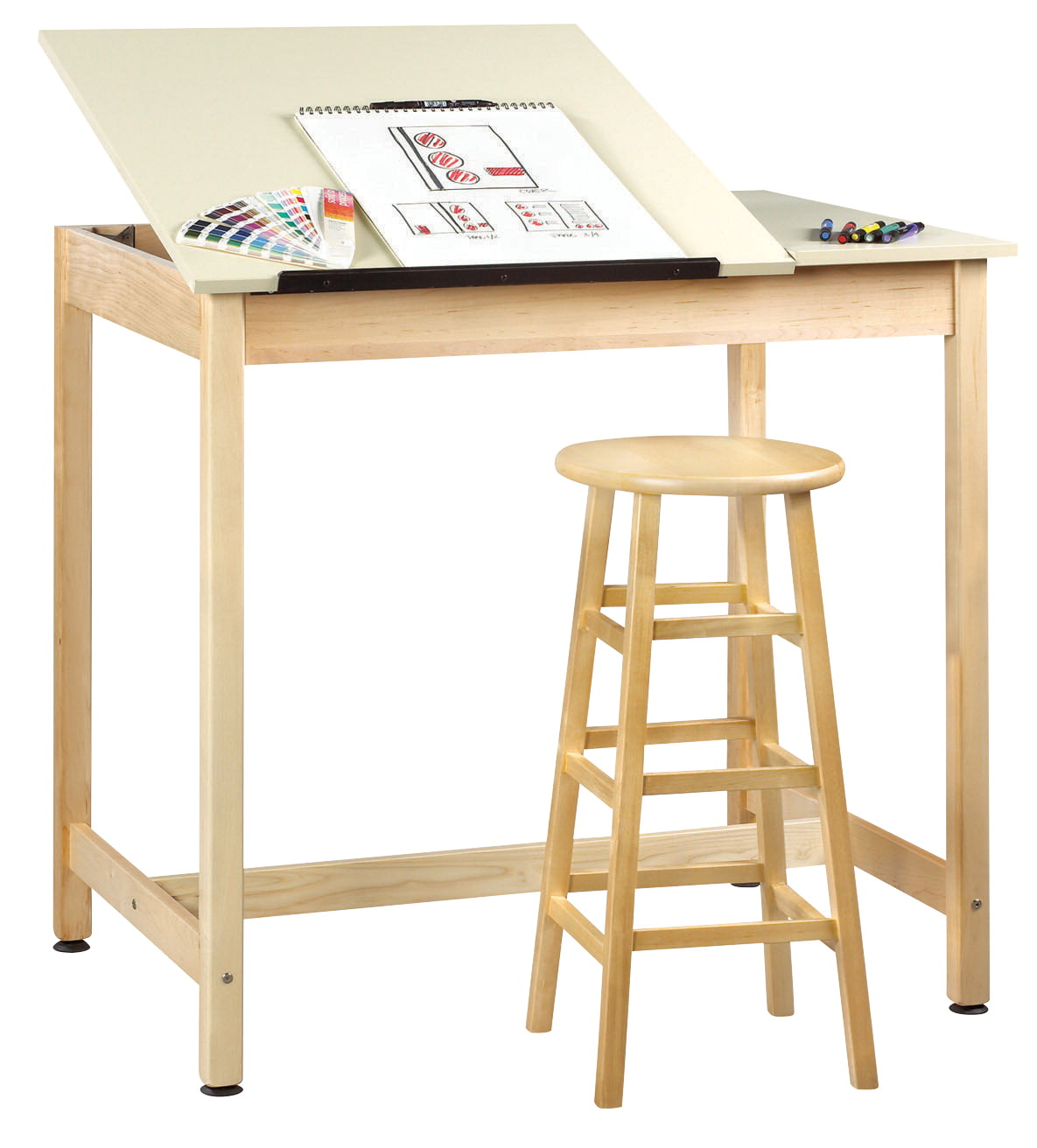 Diversified Woodcrafts Drafting Table, Split Top, 42 x 30 x 39-3/4 Inches, Almond Colored Plastic Laminate Top