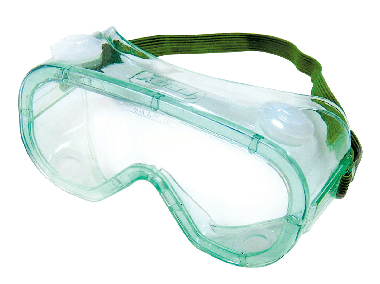 Sellstrom Frey Scientific Economy Standard Lens Indirect Vent Safety Goggle, 18 in Handband, Polycarbonate Lens, Green Tinted Body/Clear Lens