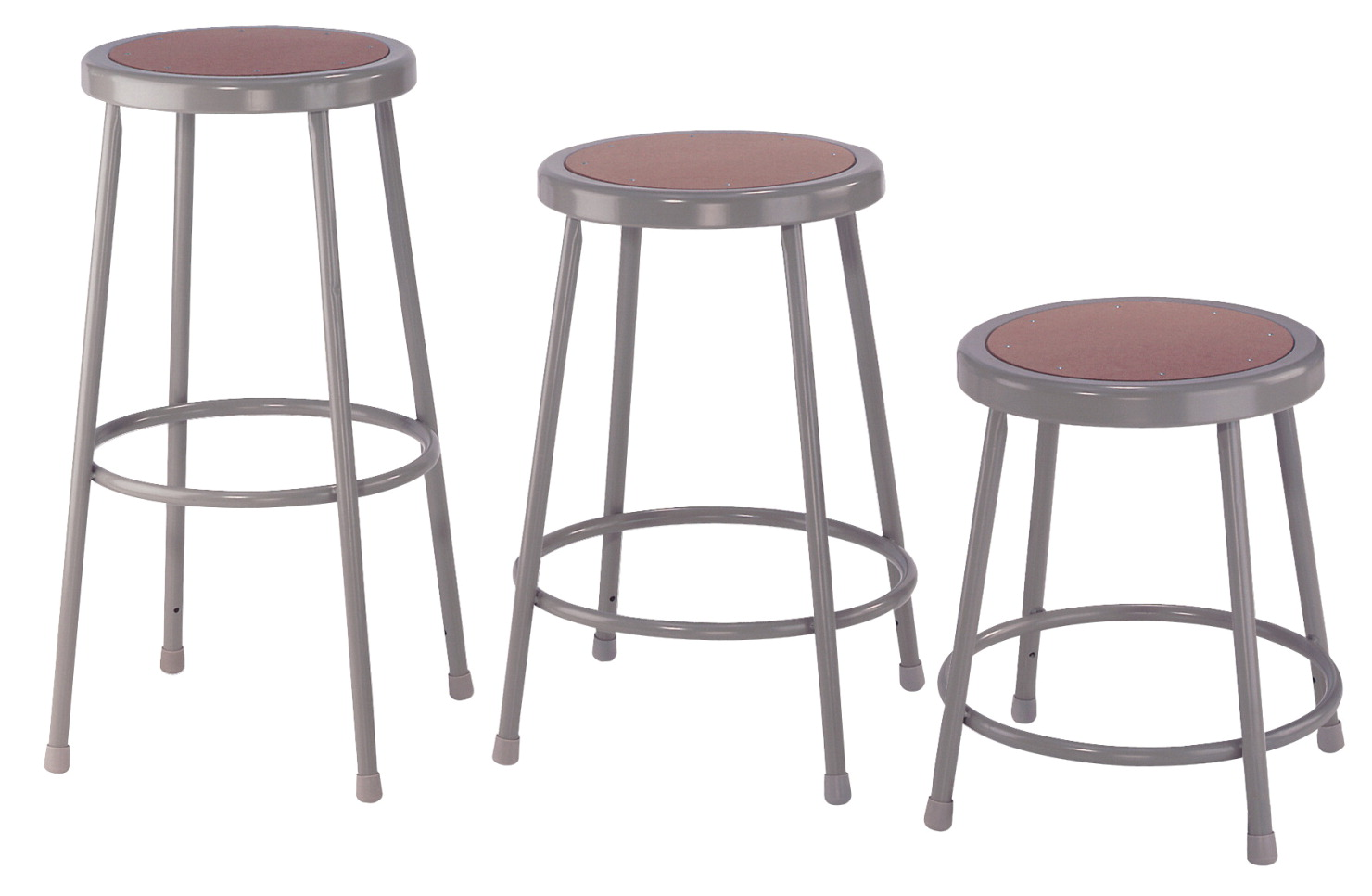 National Public Seating Heavy Duty Steel Stool, 18 Inch, Gray