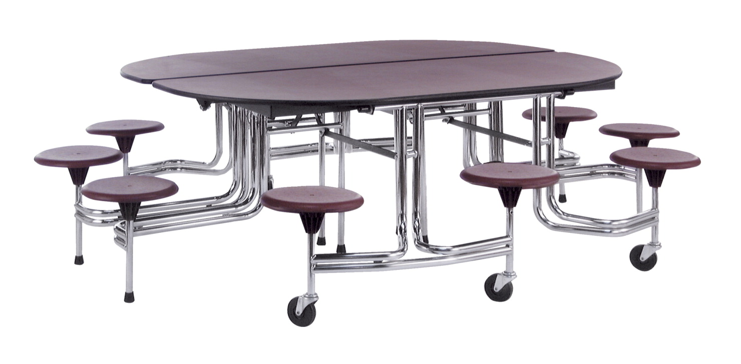 Biofit Oval Folding Mobile Cafeteria Table 10 Seats 6 Feet X 27 Inches
