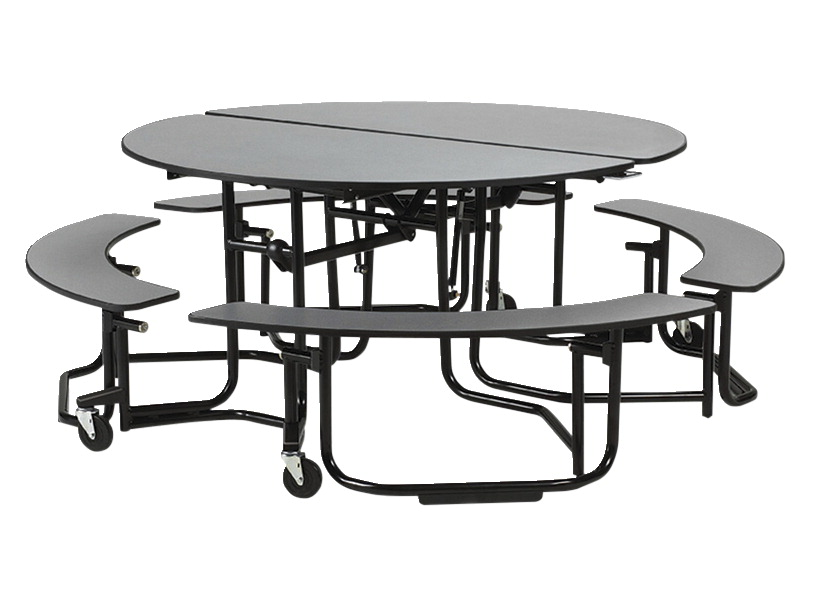 Cafeteria table school specialty marketplace ki uniframe mobile round folding table with chrome frame benches 60 x 29 inches jeuxipadfo Choice Image
