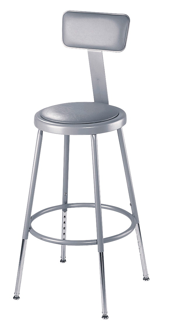 National Public Seating Heavy Duty Vinyl Padded Steel Stool With Backrest, 24 Inches, Gray